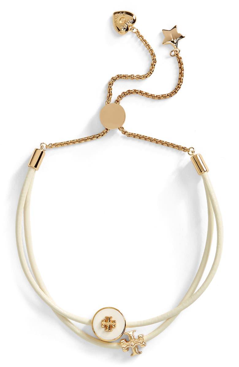 TORY BURCH Kira Slider Bracelet, Main, color, TORY GOLD / NEW IVORY