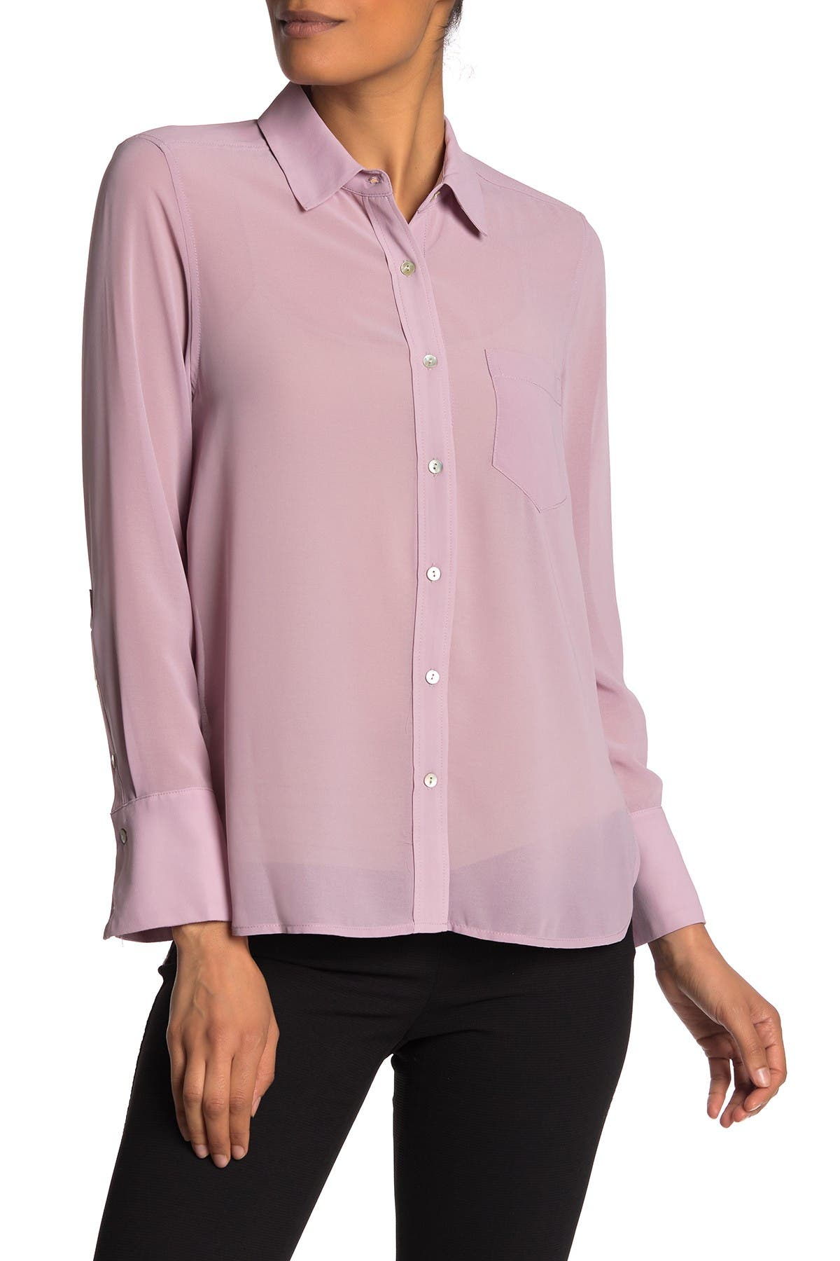 Image of Nanette Lepore Solid Long Sleeve Button Front Shirt