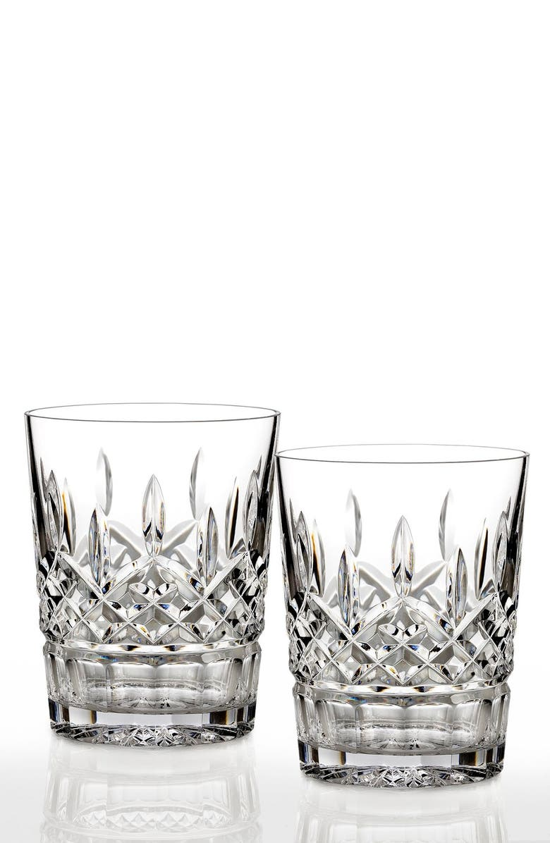 WATERFORD 'Lismore' Lead Crystal Double Old Fashioned Glasses, Main, color, CLEAR