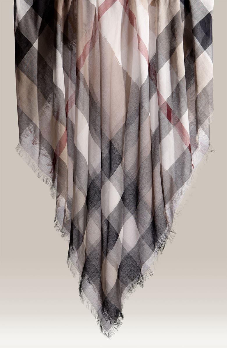 BURBERRY Check Print Cotton Scarf, Main, color, 250