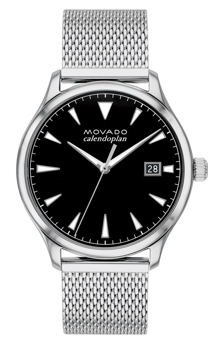 MOVADO Heritage Calendoplan Bracelet Watch, 40mm, Main, color, SILVER/ BLACK/ SILVER