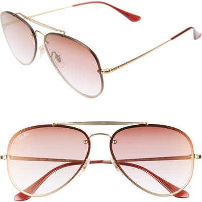 Ray-Ban 61Mm Gradient Lens Aviator Sunglasses - Gold/ Brown Pink Gradient