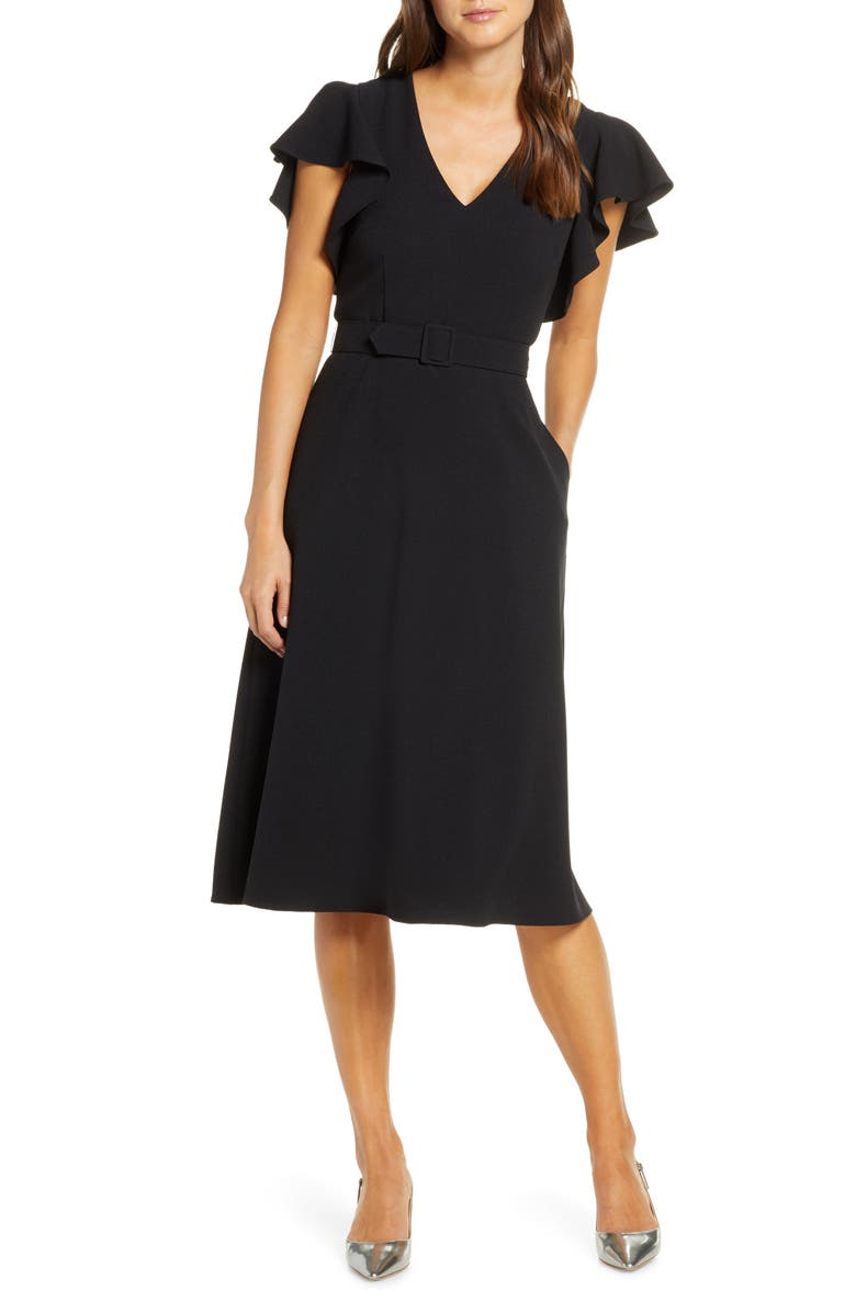ELIZA J Flutter Sleeve Belted Crepe Midi Dress, Main, color, BLACK