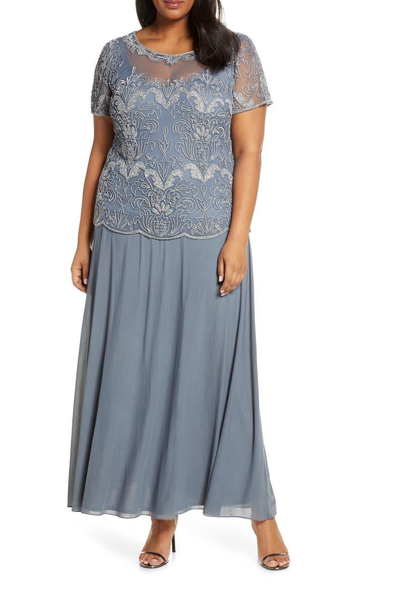 PISARRO NIGHTS Beaded Illusion Neck Chiffon Gown, Main, color, SILVER