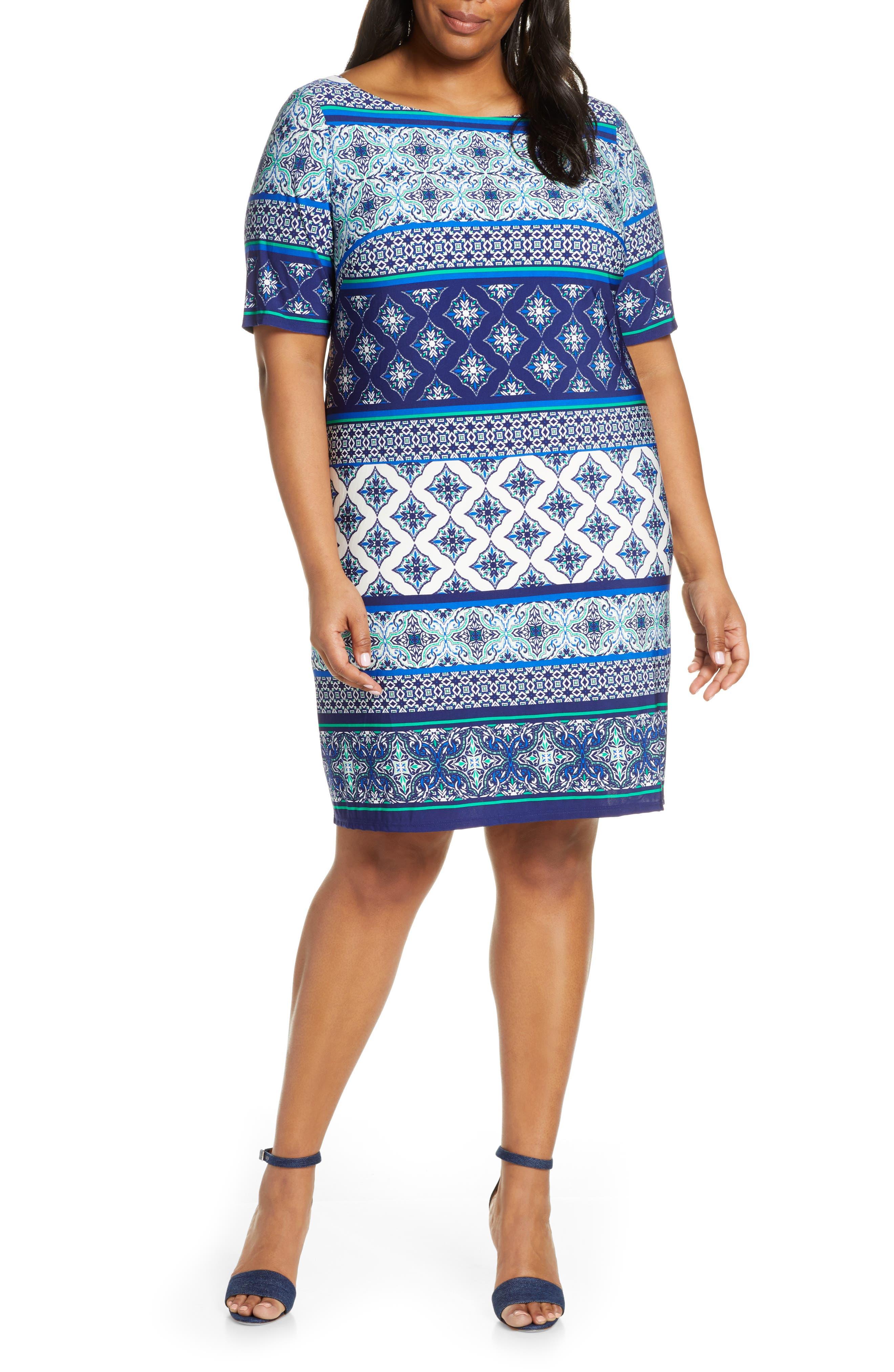 Plus Size Eliza J Print Sheath Dress, Blue