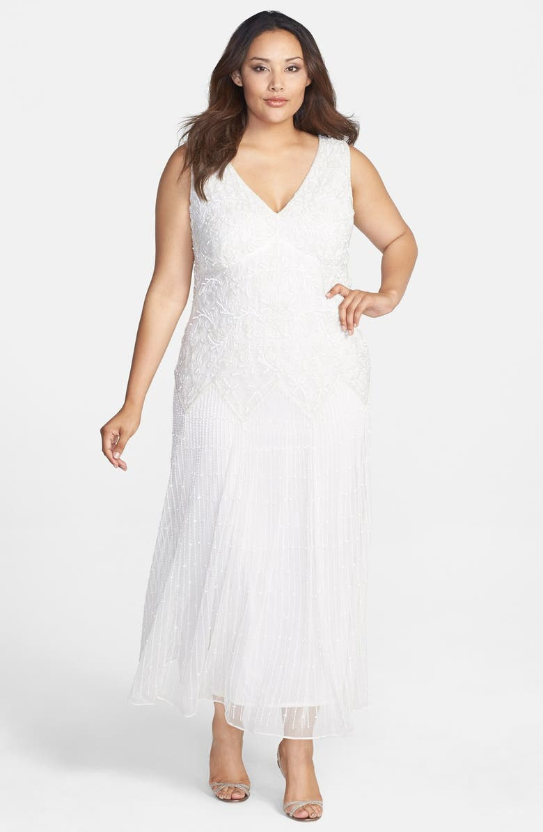 PISARRO NIGHTS Embellished V-Neck Long Dress, Main, color, 900