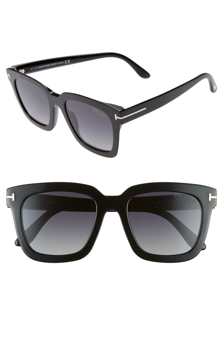 TOM FORD Sari 52mm Square Polarized Sunglasses, Main, color, BLACK/ GREY SMOKE