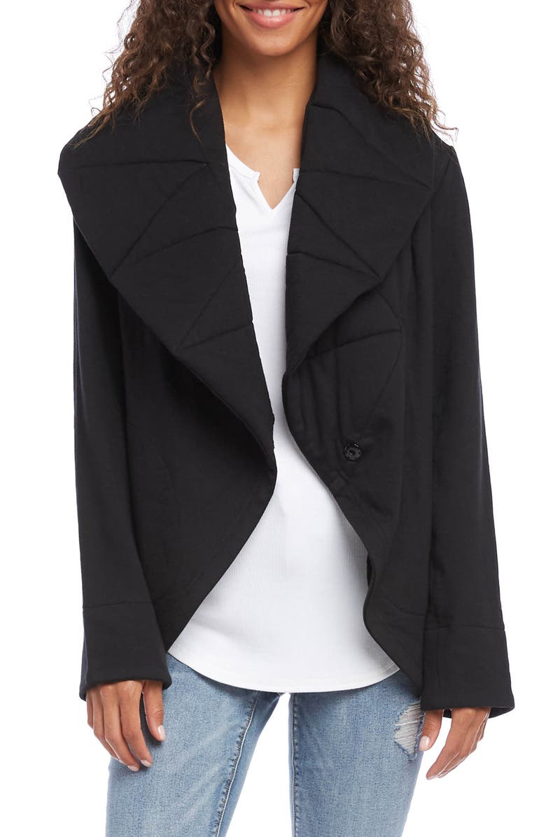 KAREN KANE Quilted Collar Cotton Blend Jacket, Main, color, BLACK