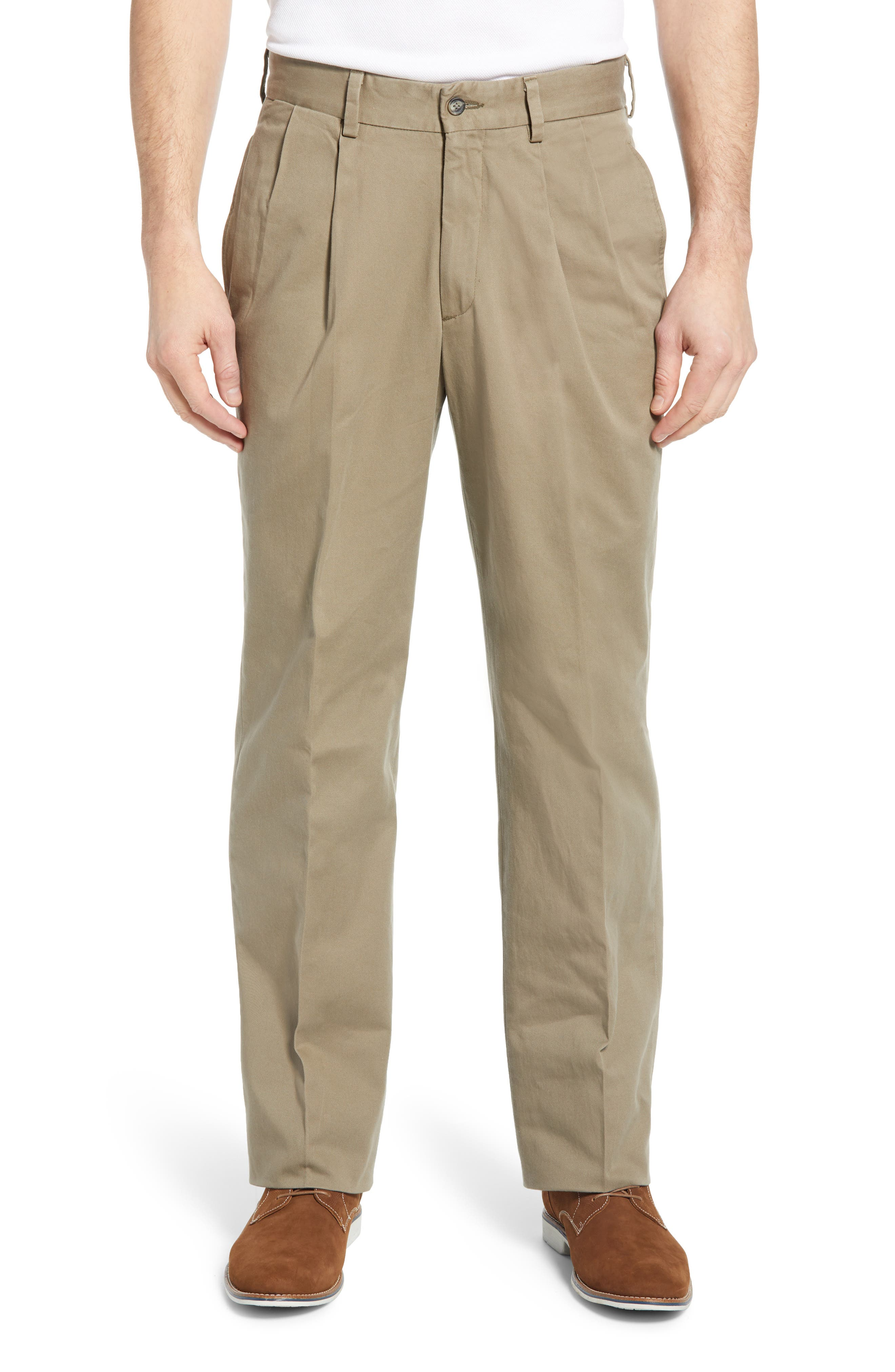 A pleated waist enhances the relaxed cut of these versatile chinos made from washed cotton twill. Style Name: Berle Charleston Pleated Chino Pants. Style Number: 6033024. Available in stores.