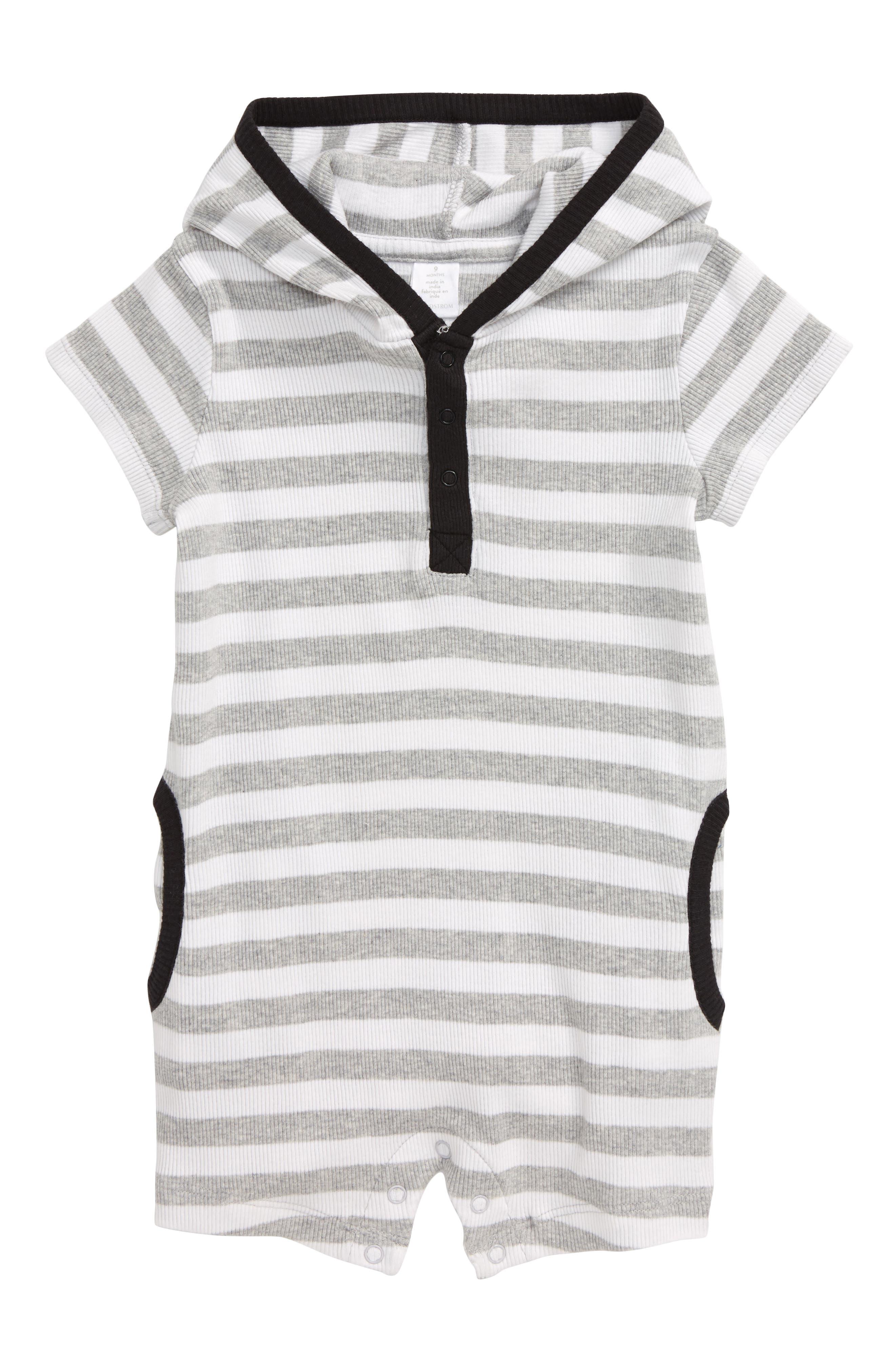 Image of Nordstrom Baby Heathered Stripe Hooded Henley Romper