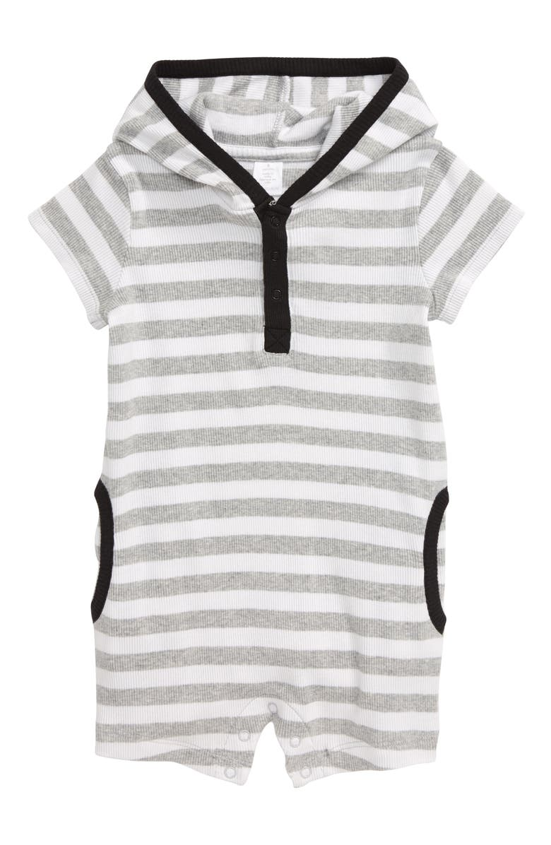 NORDSTROM Baby Heathered Stripe Hooded Henley Romper, Main, color, 050
