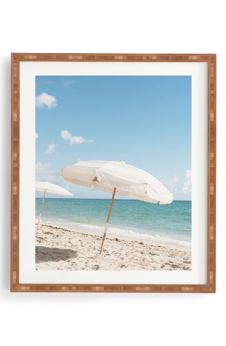 DENY DESIGNS Beach Umbrella Framed Wall Art, Main, color, BLUE