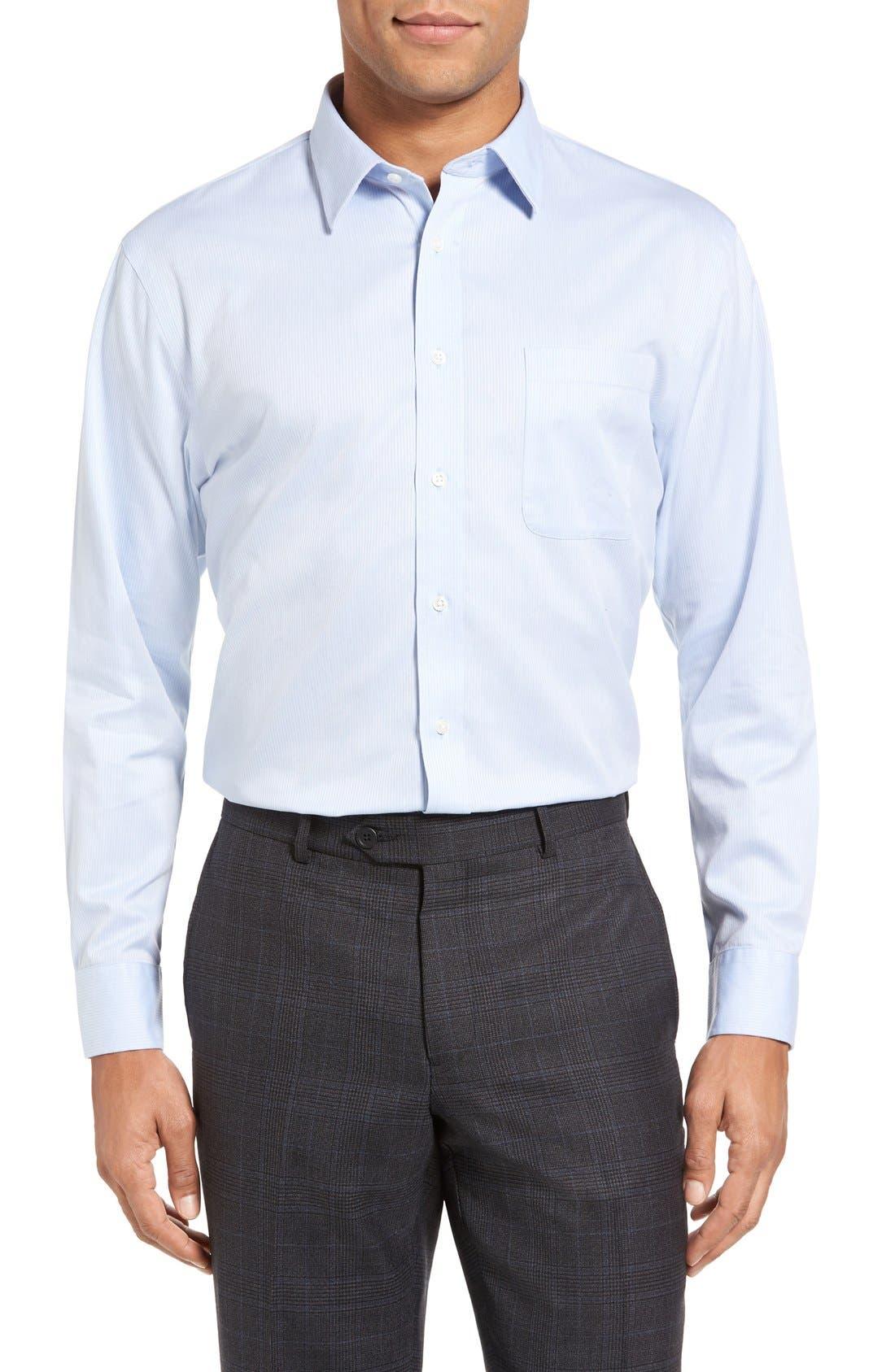 Nordstrom Shop Smartcare(TM) Trim Fit Dress Shirt, 5.5 32/33 - Blue