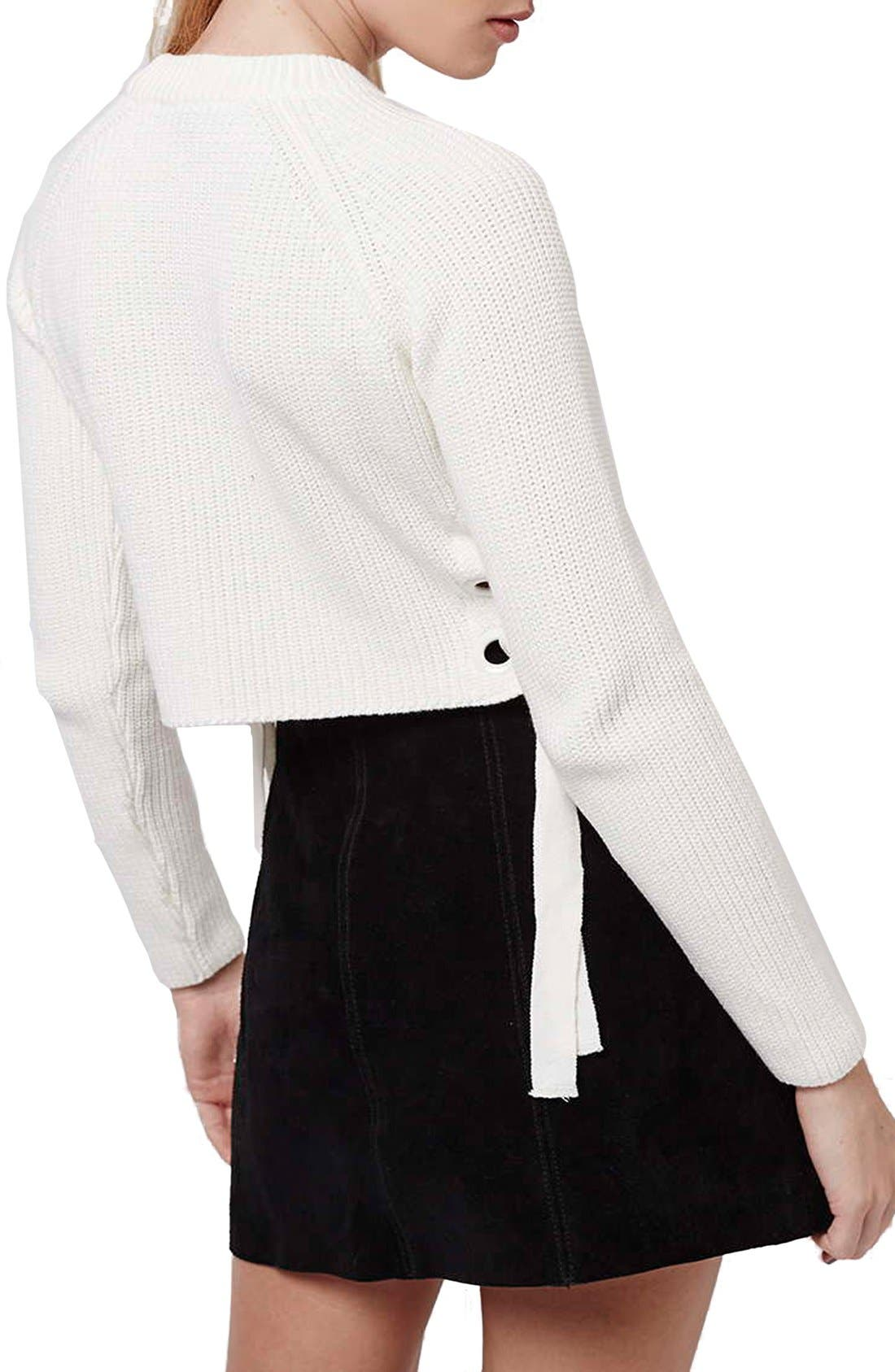,                             Side Tie Crop Sweater,                             Alternate thumbnail 10, color,                             900