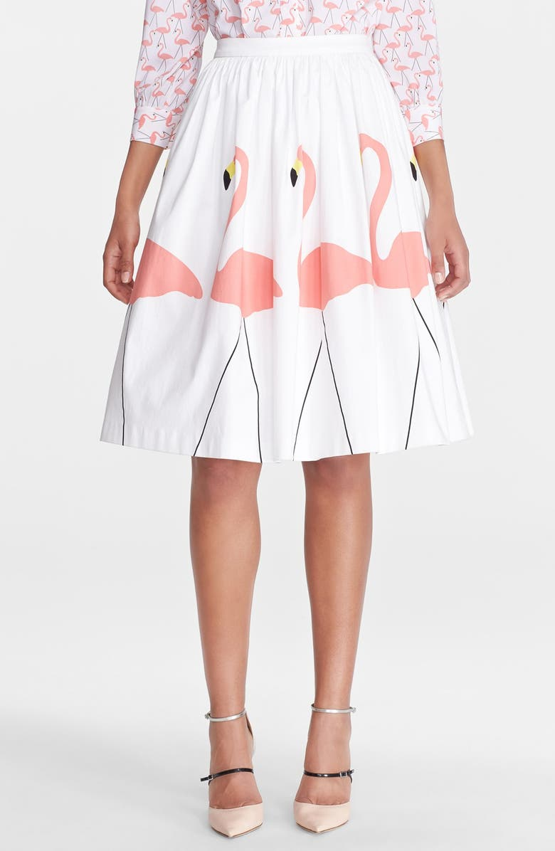 ALICE + OLIVIA 'Hale' Midi Puffed Skirt, Main, color, 100