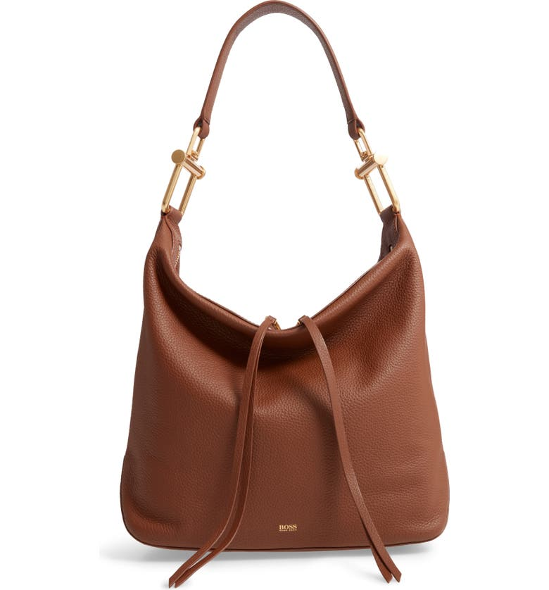 BOSS Small Christy Leather Hobo, Main, color, LIGHT/ PASTEL BROWN
