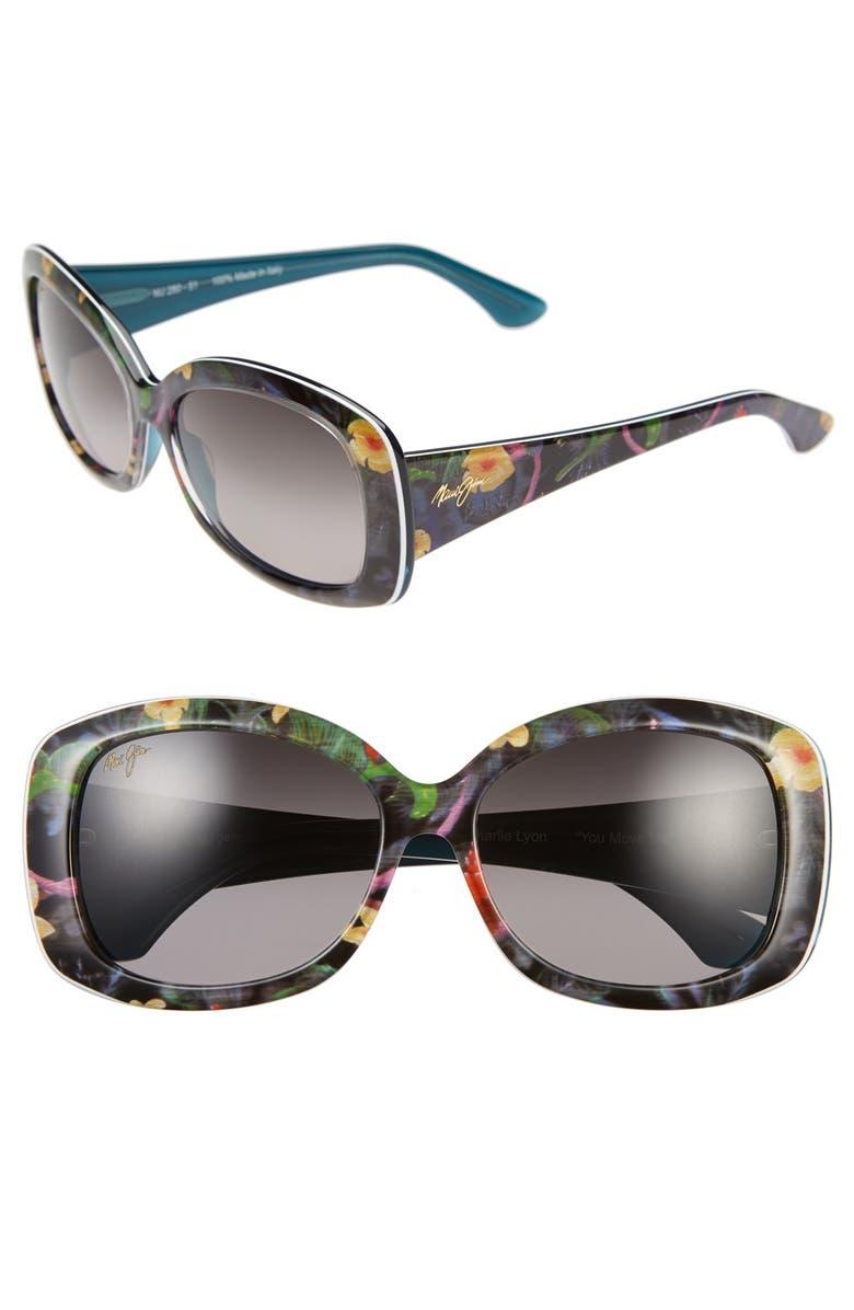 MAUI JIM You Move Me 60mm PolarizedPlus2<sup>®</sup> Sunglasses, Main, color, SILK/ WHITE/ TEAL
