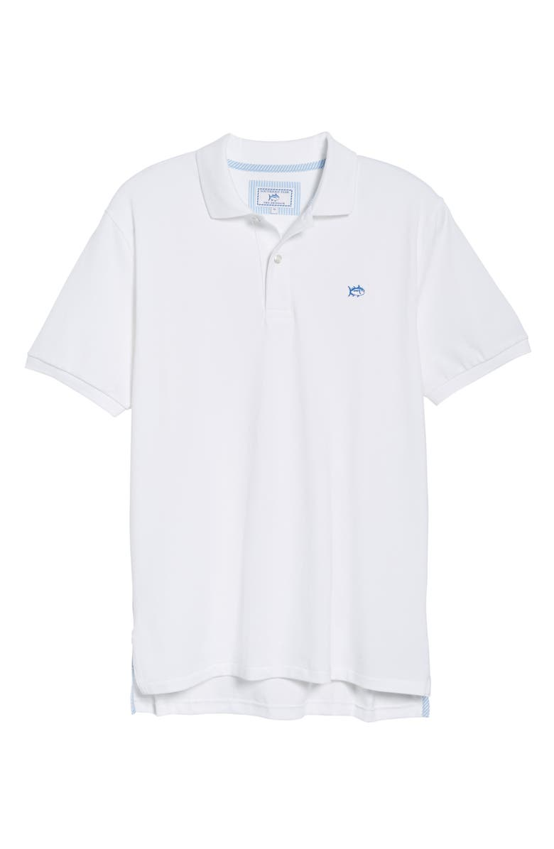 SOUTHERN TIDE Skipjack Micro Piqué Stretch Cotton Polo, Main, color, WHITE