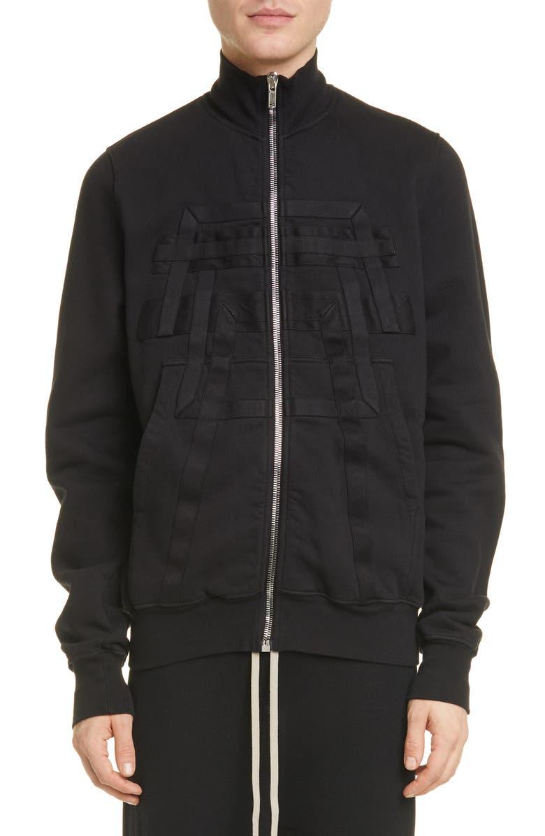 RICK OWENS DRKSHDW Fleece Zip Sweatshirt, Main, color, BLACK