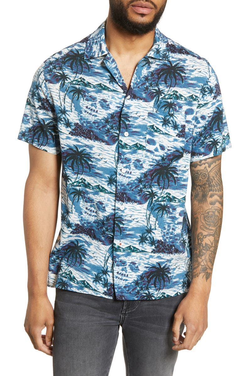 JOHN VARVATOS STAR USA Regular Fit Skip Print Camp Shirt, Main, color, DEEP BLUE