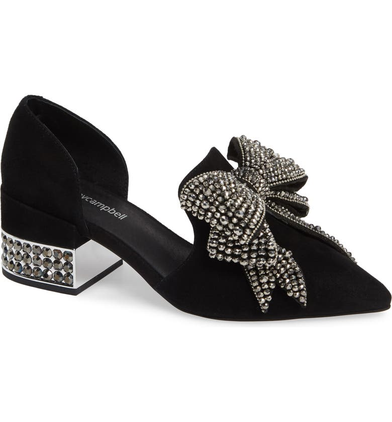 JEFFREY CAMPBELL Valenti Embellished Bow Loafer, Main, color, BLACK SUEDE/ SILVER SMOKE