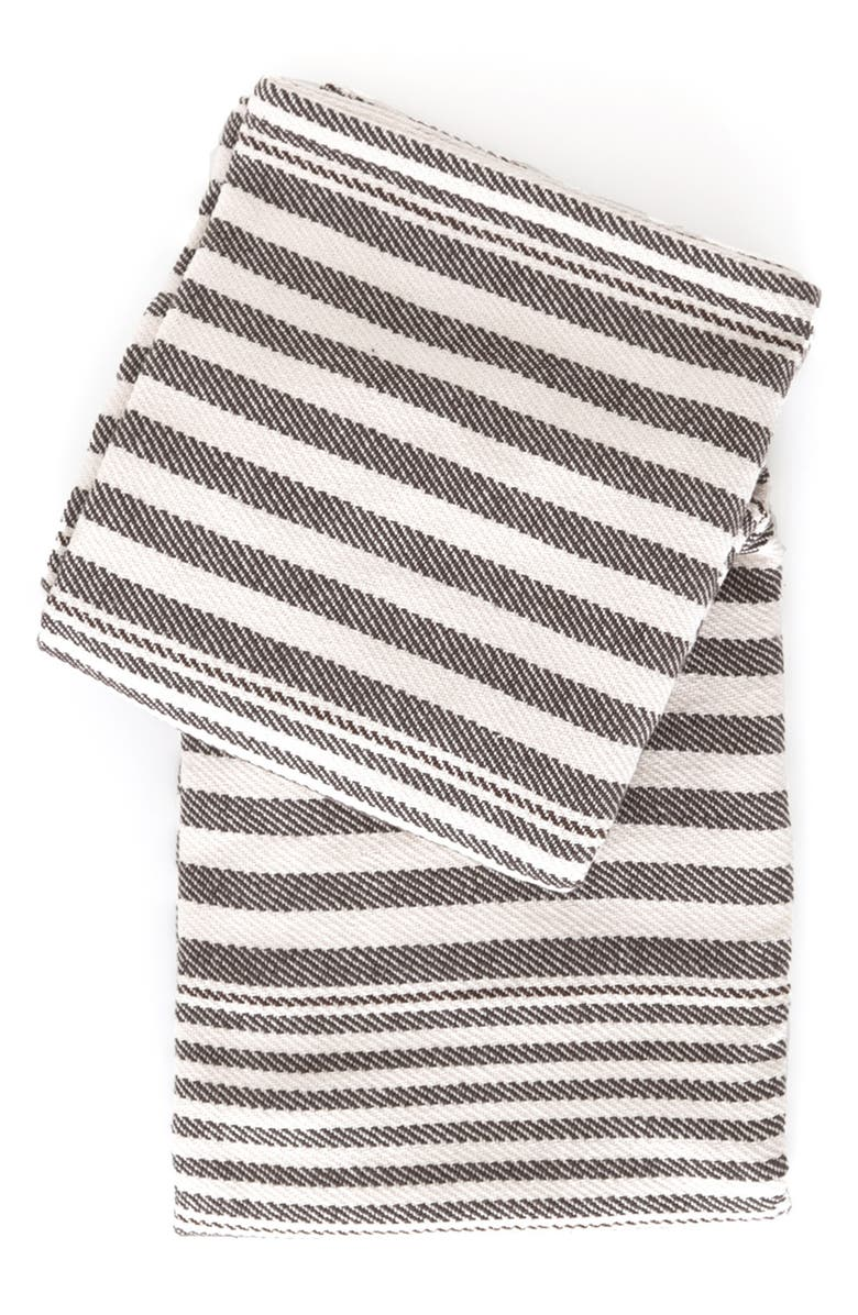 DASH & ALBERT Rugby Stripe Woven Cotton Throw, Main, color, CHARCOAL
