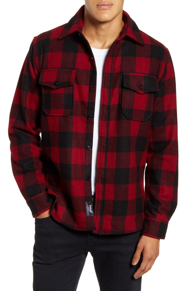 SCHOTT NYC Water Resistant Wool Blend Shirt Jacket, Main, color, RED