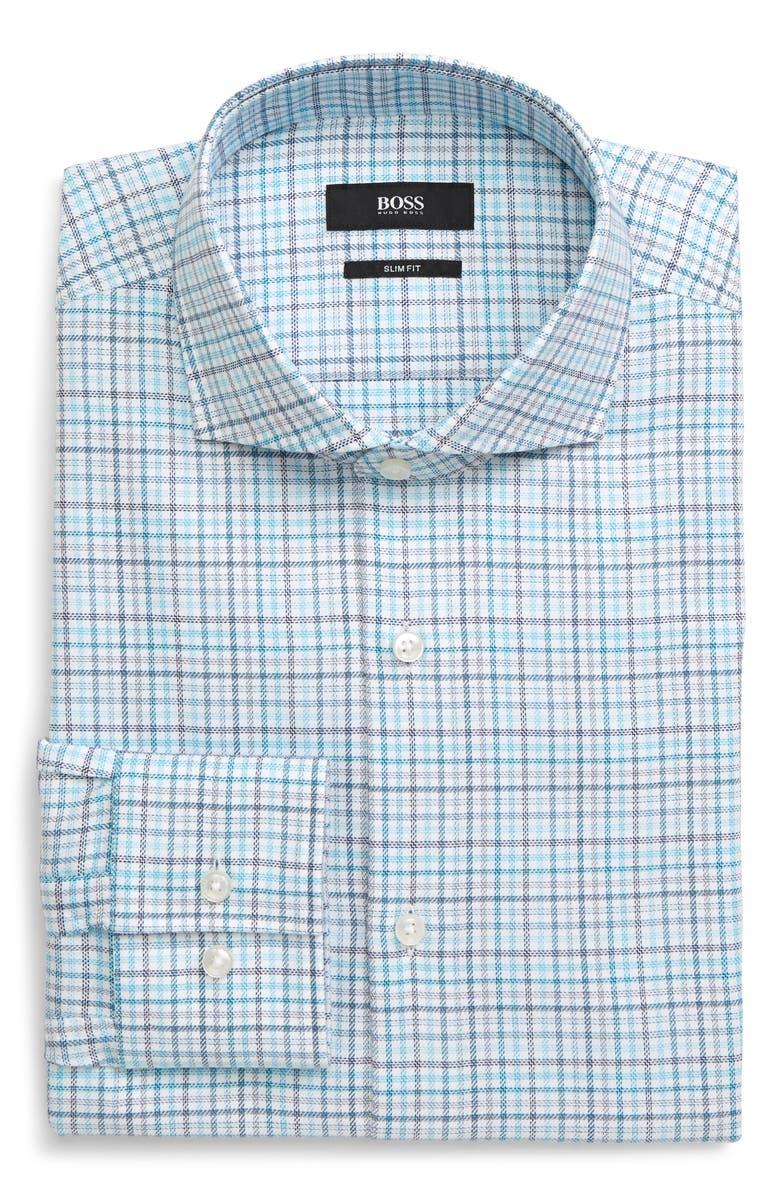 BOSS Jason Slim Fit Plaid Dress Shirt, Main, color, GREEN