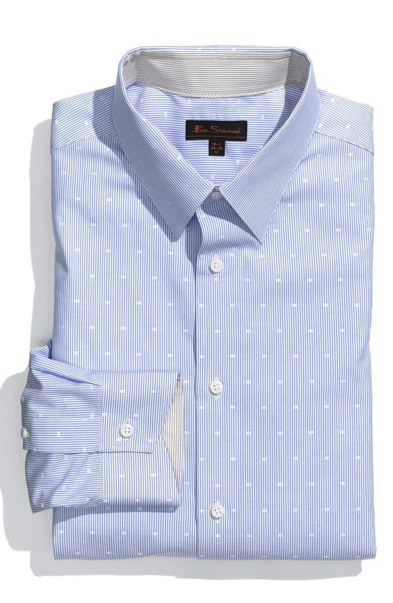 BEN SHERMAN Trim Fit Dress Shirt, Main, color, 100