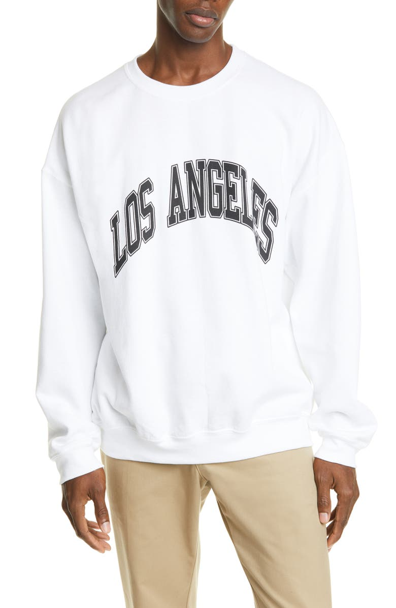 NOON GOONS All City Los Angeles Sweatshirt, Main, color, WHITE (BLACK PRINT)