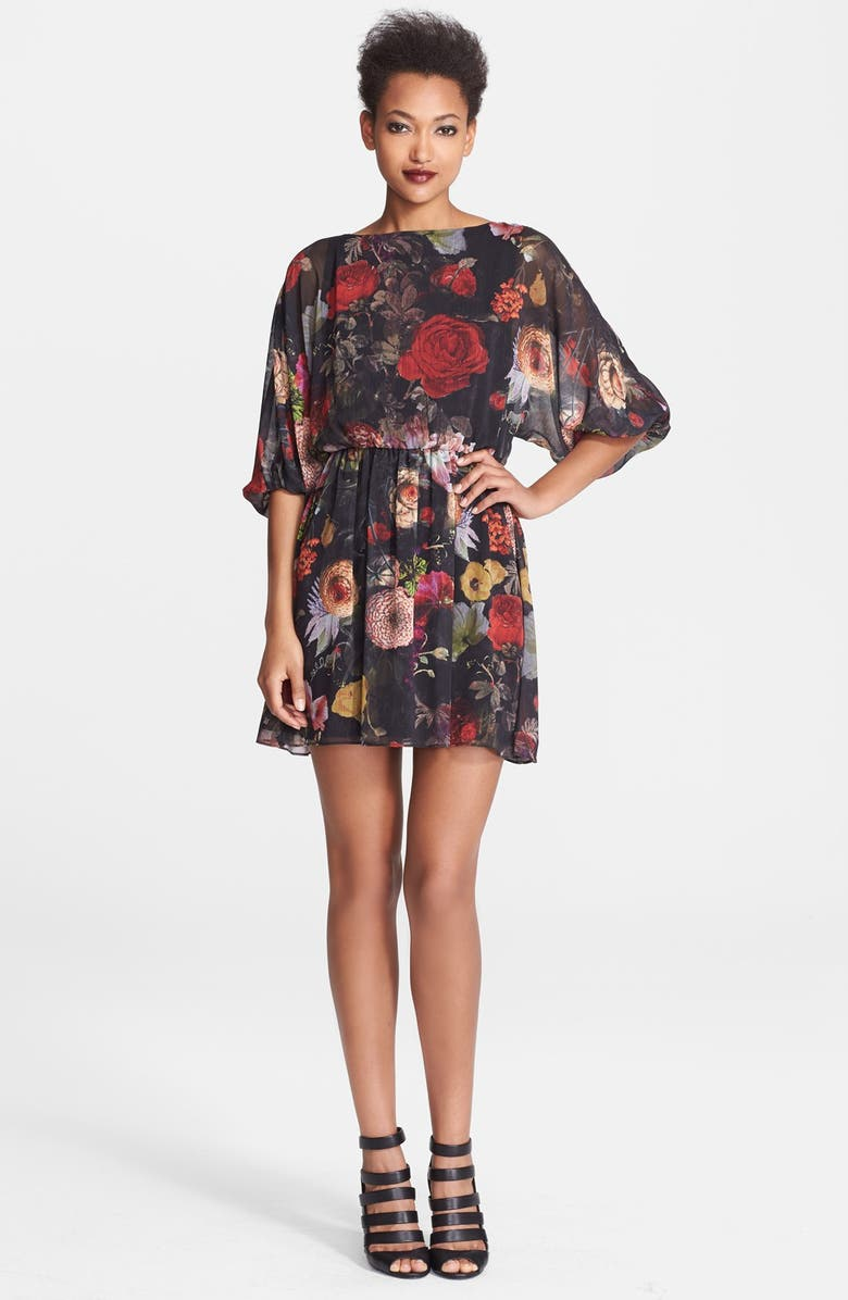 ALICE + OLIVIA 'Andie' Floral Print Blouson Dress, Main, color, 001