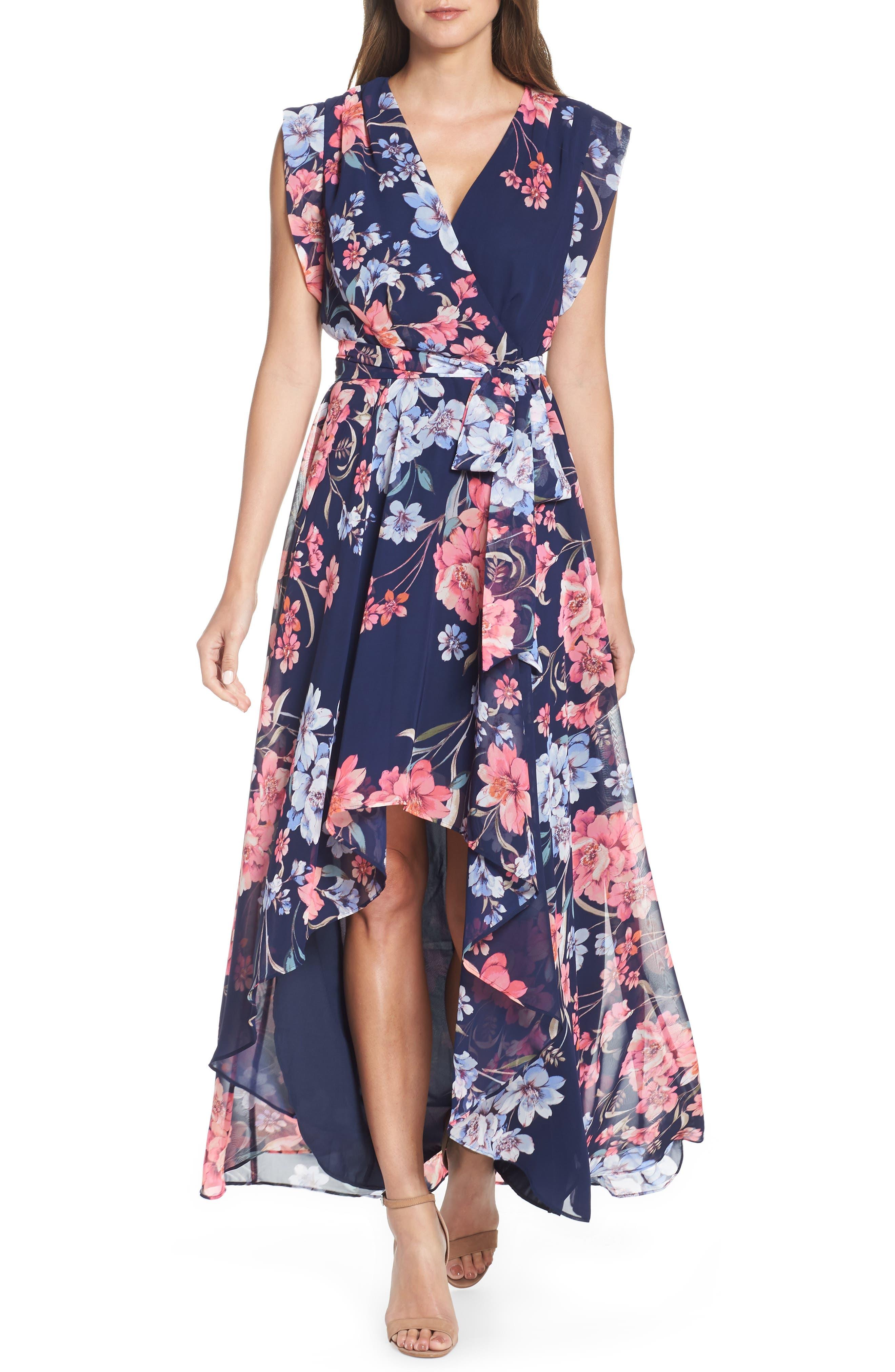 Floral High/low Faux Wrap Chiffon Dress