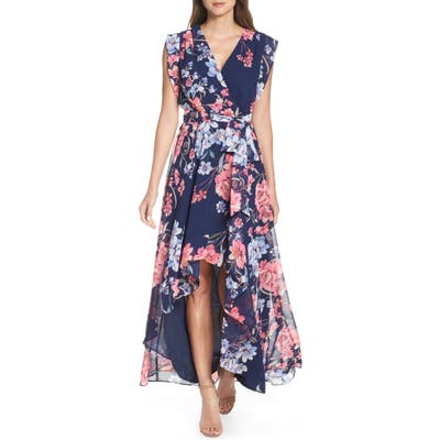 Petite Eliza J Floral High/low Faux Wrap Chiffon Dress, Blue