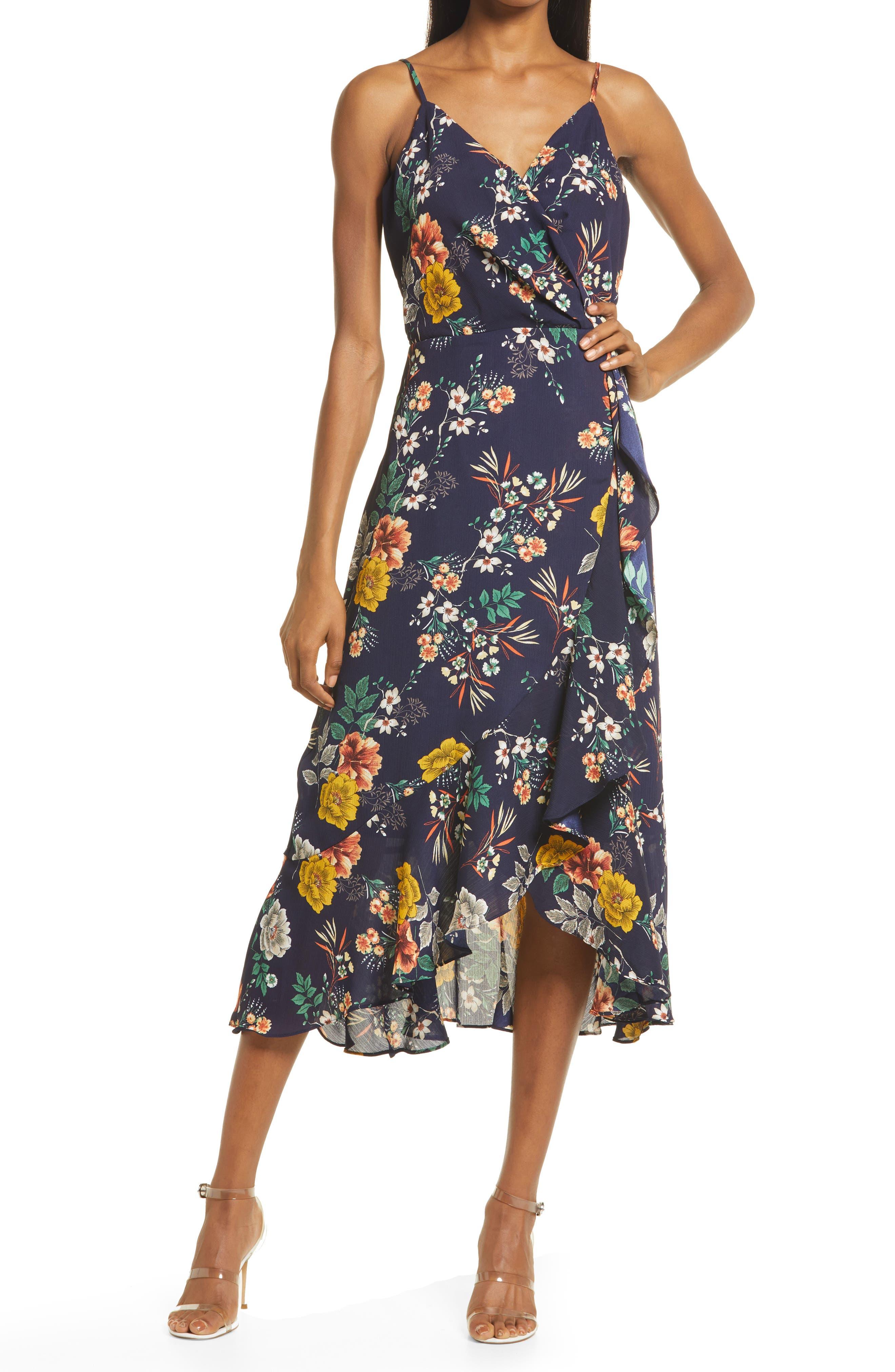 Faux Wrap Floral Midi Dress