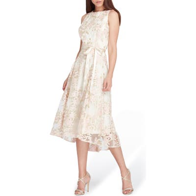 Tahari Floral Embroidered Dress, Metallic