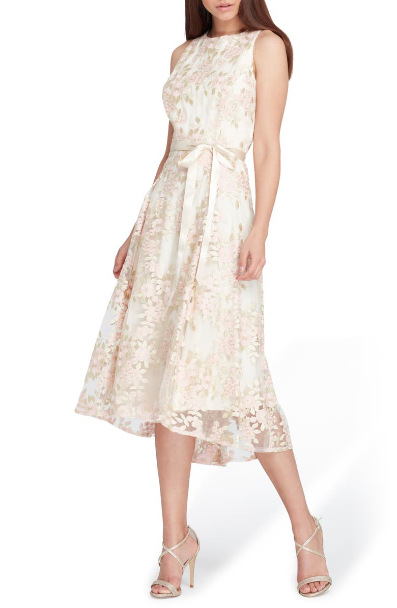 TAHARI Floral Embroidered Dress, Main, color, CHAMPAGNE/ PETAL