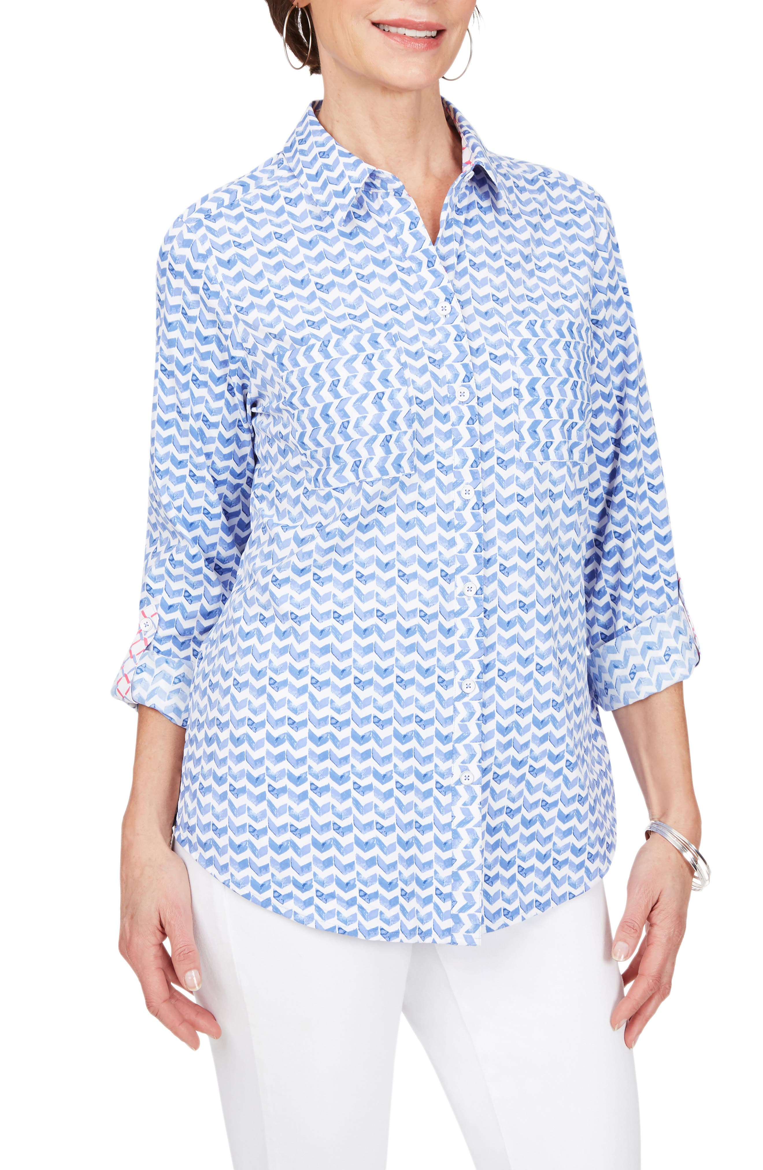 Zoey Chevron Non-Iron Button-Up Shirt