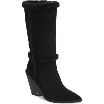 Sam Edelman Ilsa Faux Fur Trim Block Heel Boot- Black