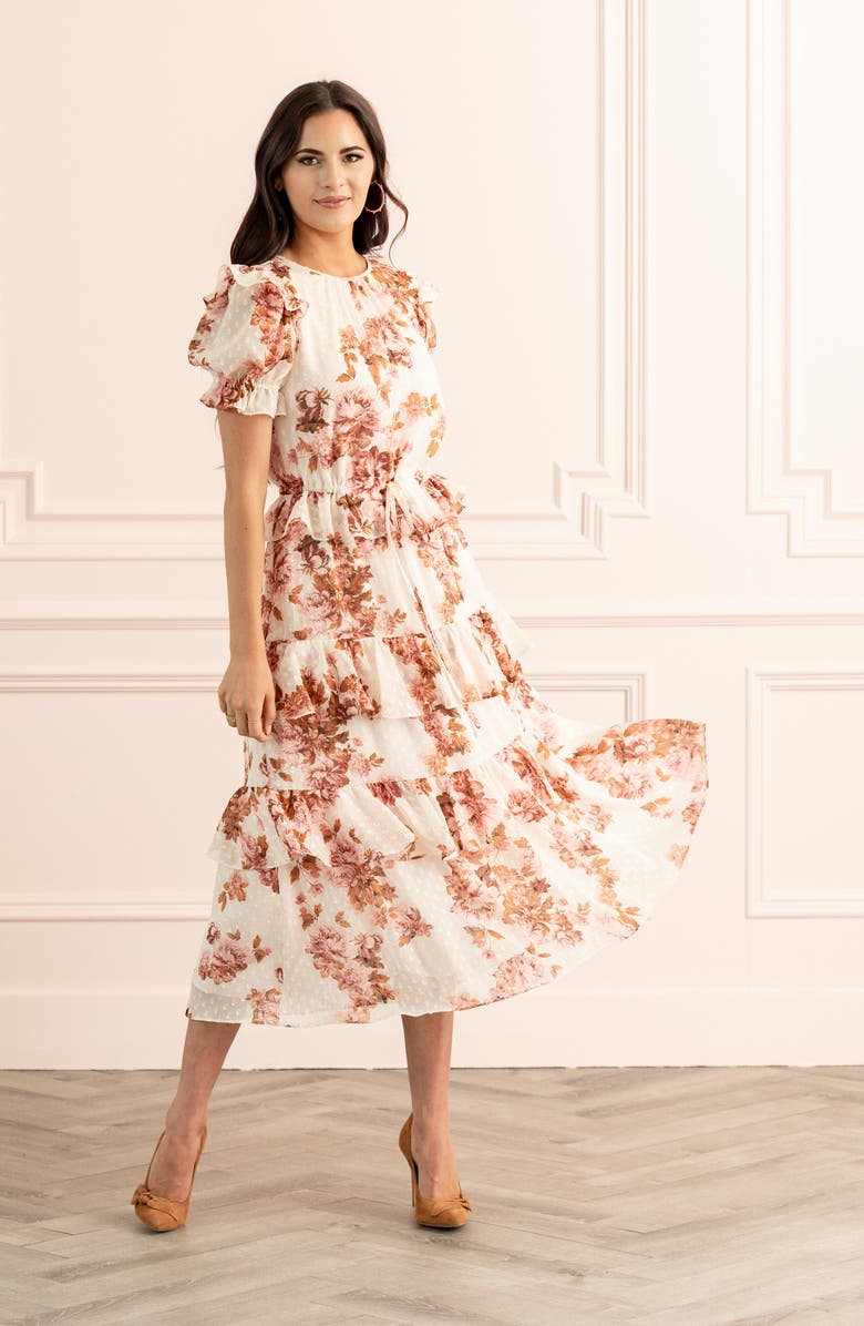 RACHEL PARCELL Ruffle Floral Dress, Main, color, PINK PARCHMENT FLORAL DOT