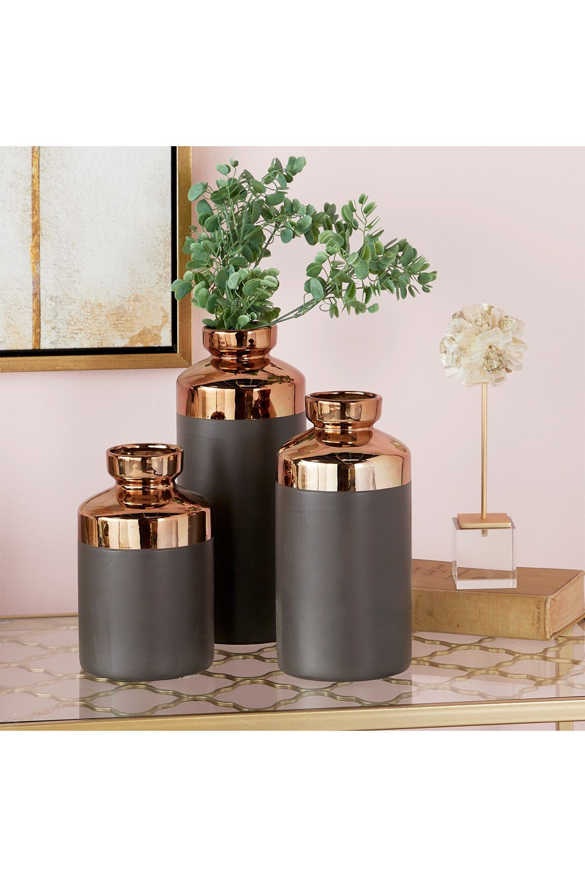 Image of CosmoLiving by Cosmopolitan Tall Cylinder Metallic Copper & Gray Decorative Vase - Set of 3