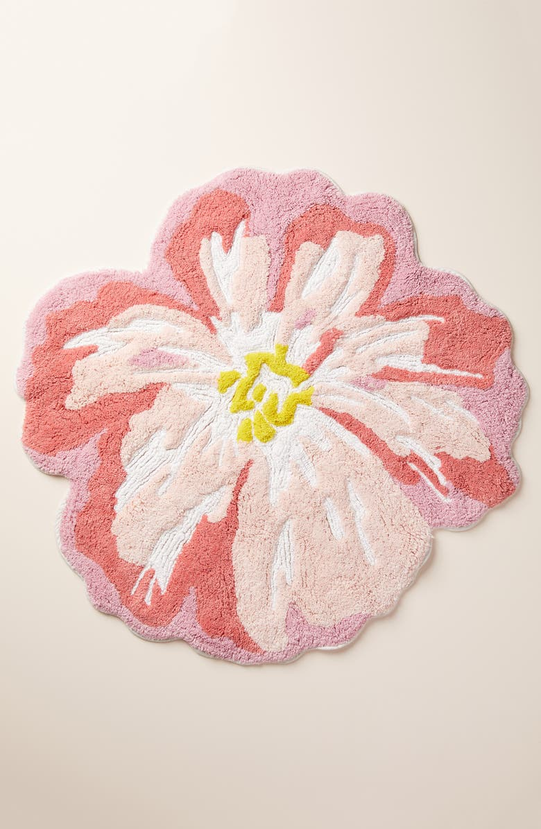 ANTHROPOLOGIE Rhea Floral Bath Mat, Main, color, PINK