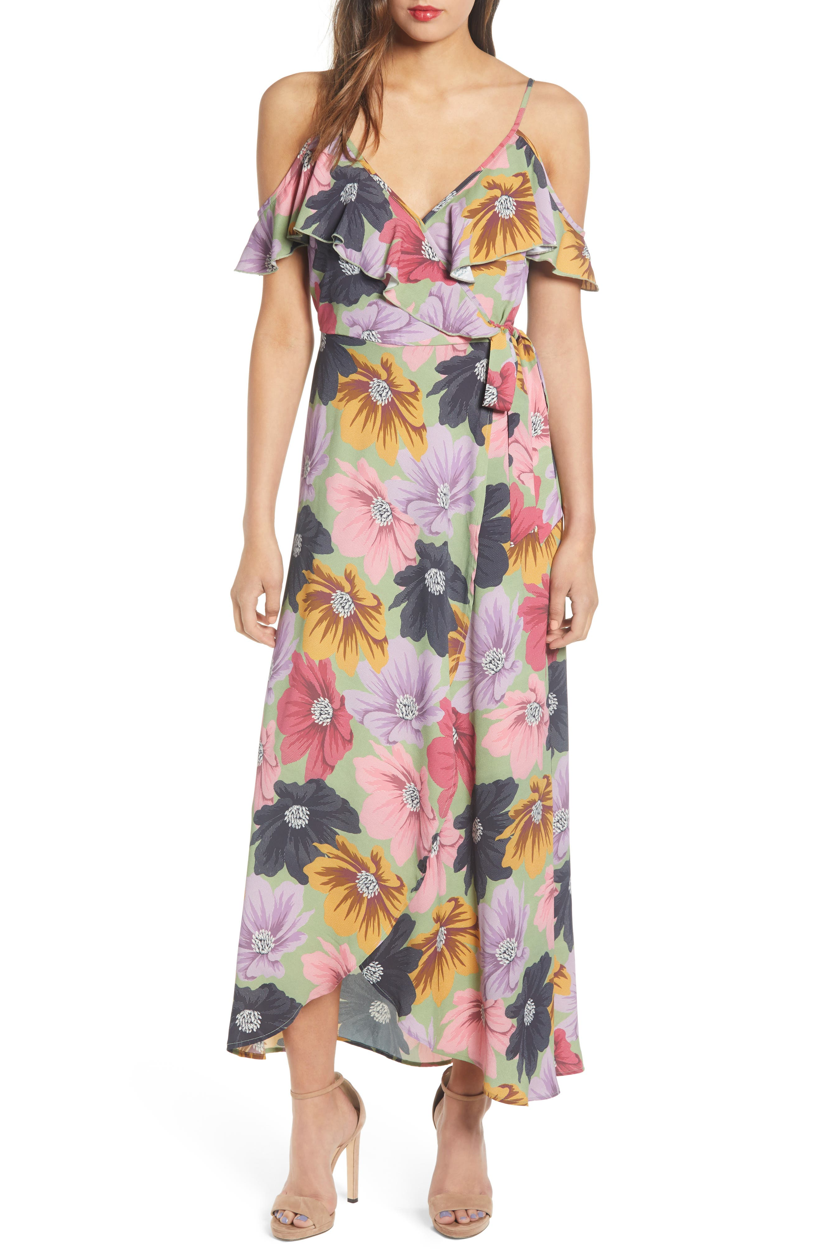 Band Of Gypsies London Floral Print Ruffle Cold Shoulder Maxi Dress, Green