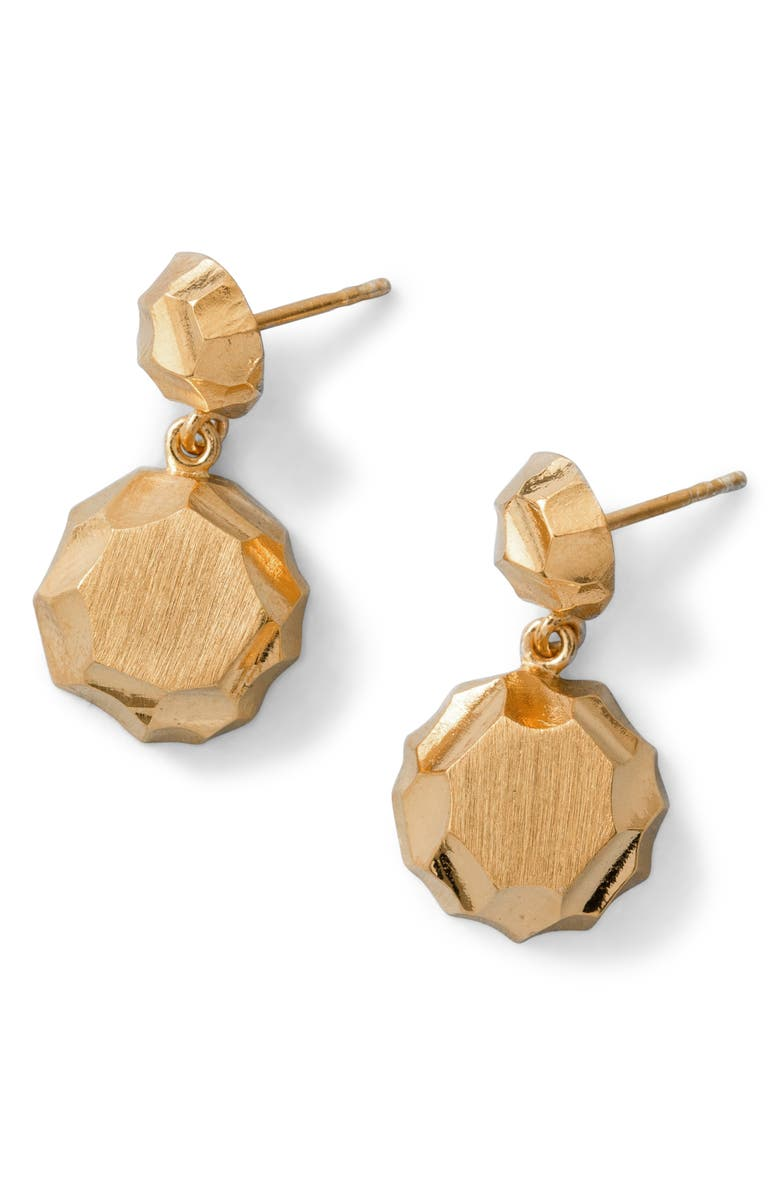 ALL BLUES Carved Ball Drop Earrings, Main, color, GOLD
