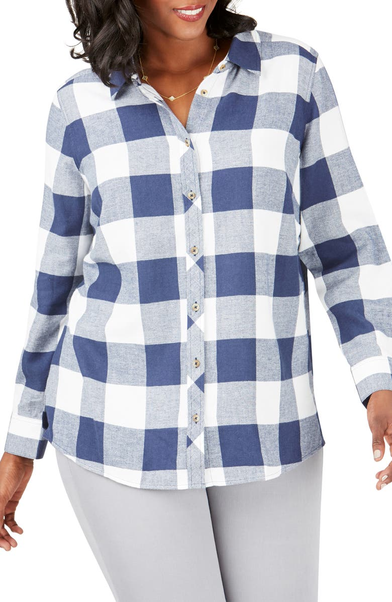 FOXCROFT Rhea Buffalo Check Brushed Cotton Blend Shirt, Main, color, NAVY