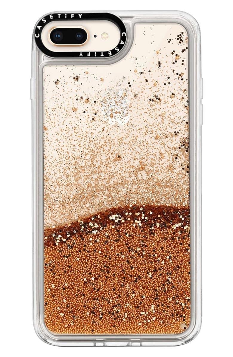 CASETIFY Glitter iPhone 7/8 Plus Case, Main, color, GOLD