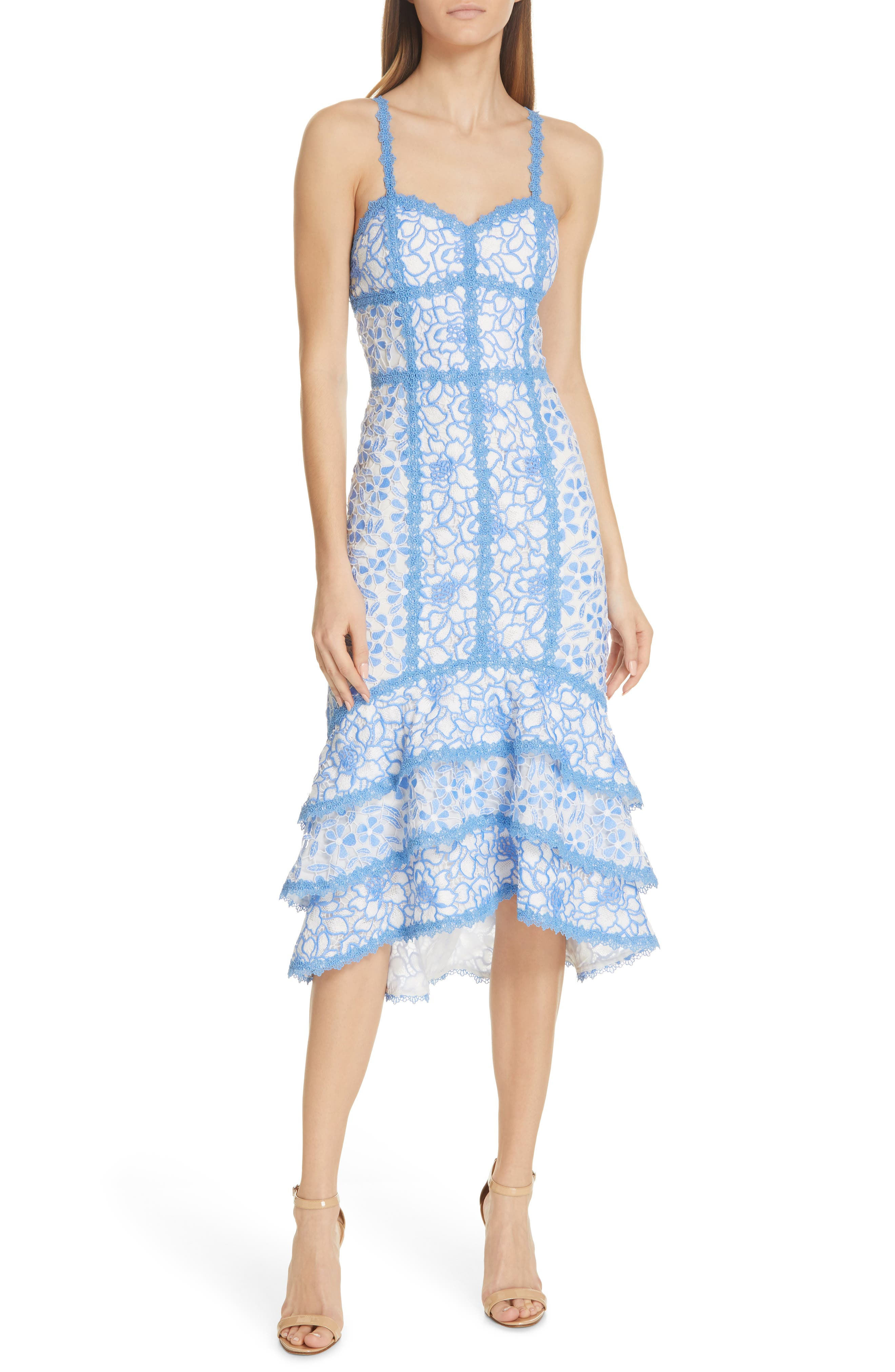 Alice + Olivia Diane Tiered High/low Dress, Blue