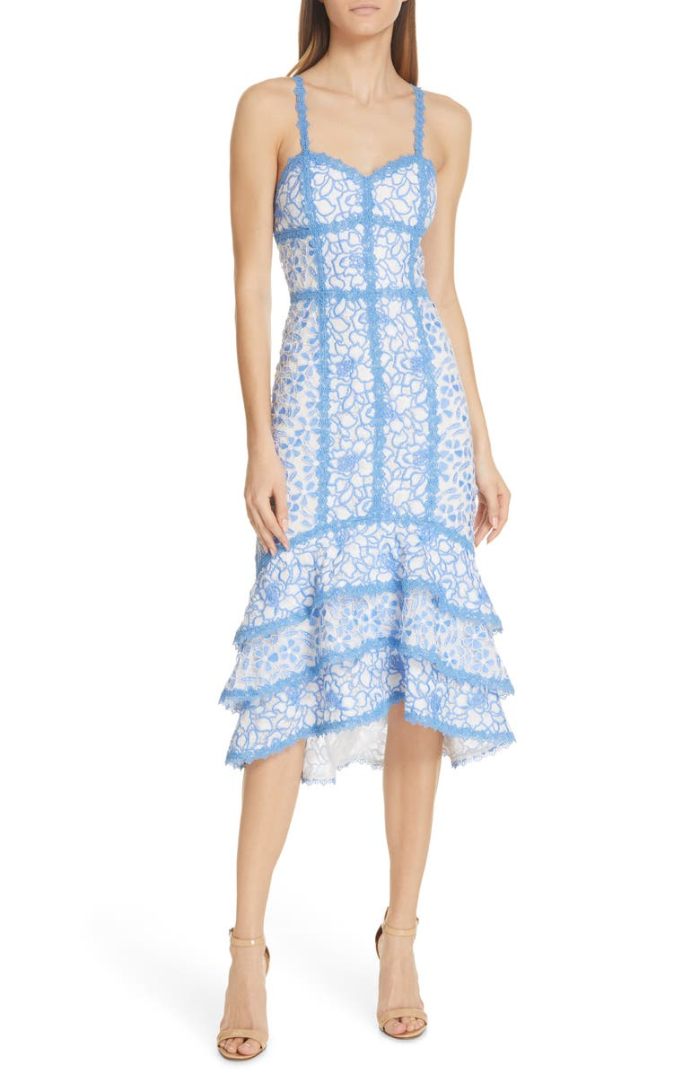 ALICE + OLIVIA Diane Tiered High/Low Dress, Main, color, 423
