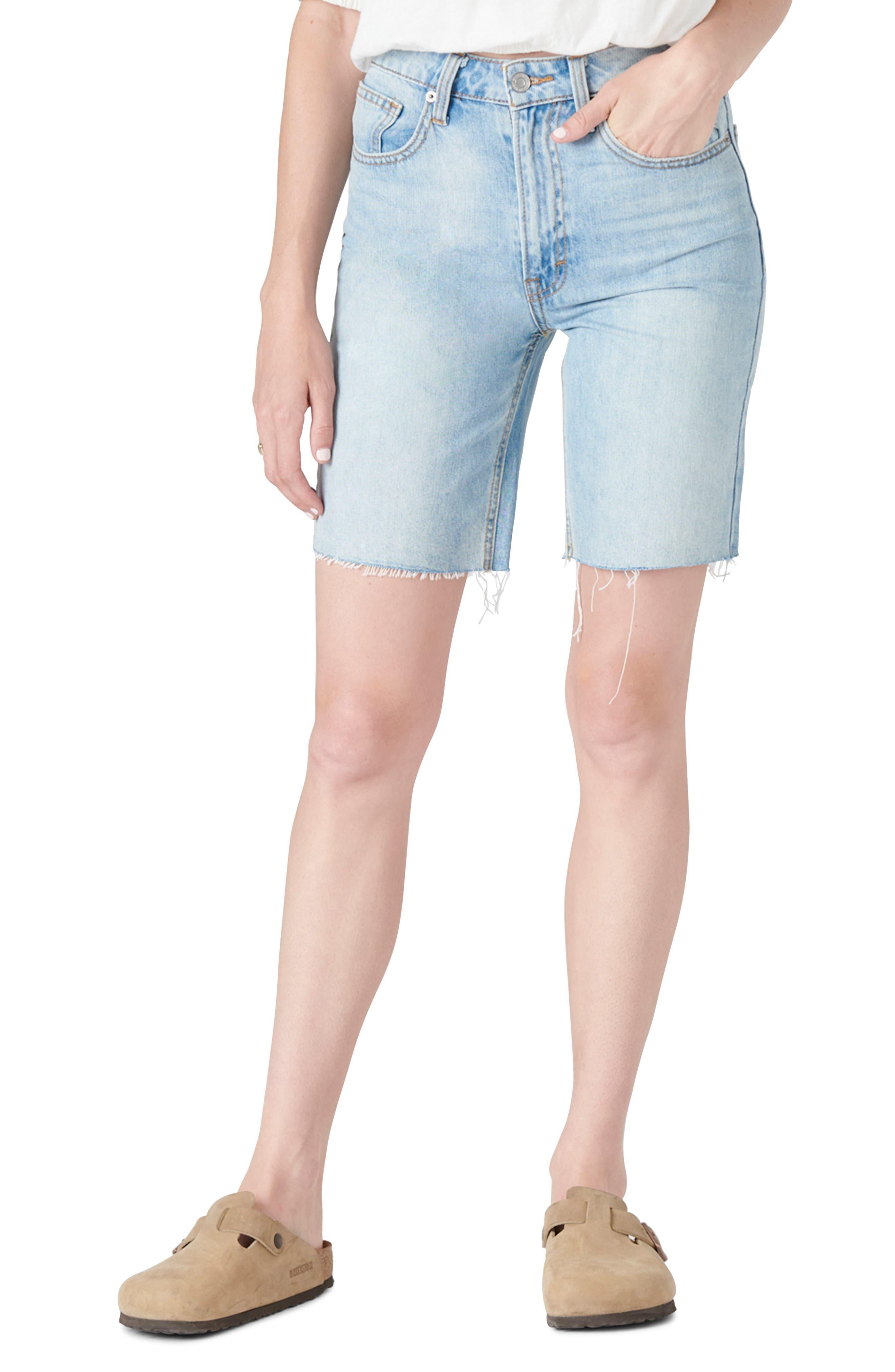 High Waist Bermuda Denim Shorts