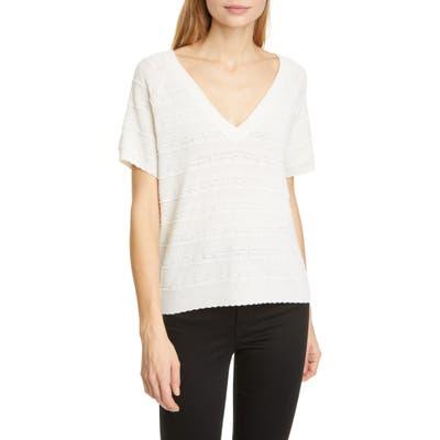 Joie Anoushka Short Sleeve Merino Wool Sweater, White