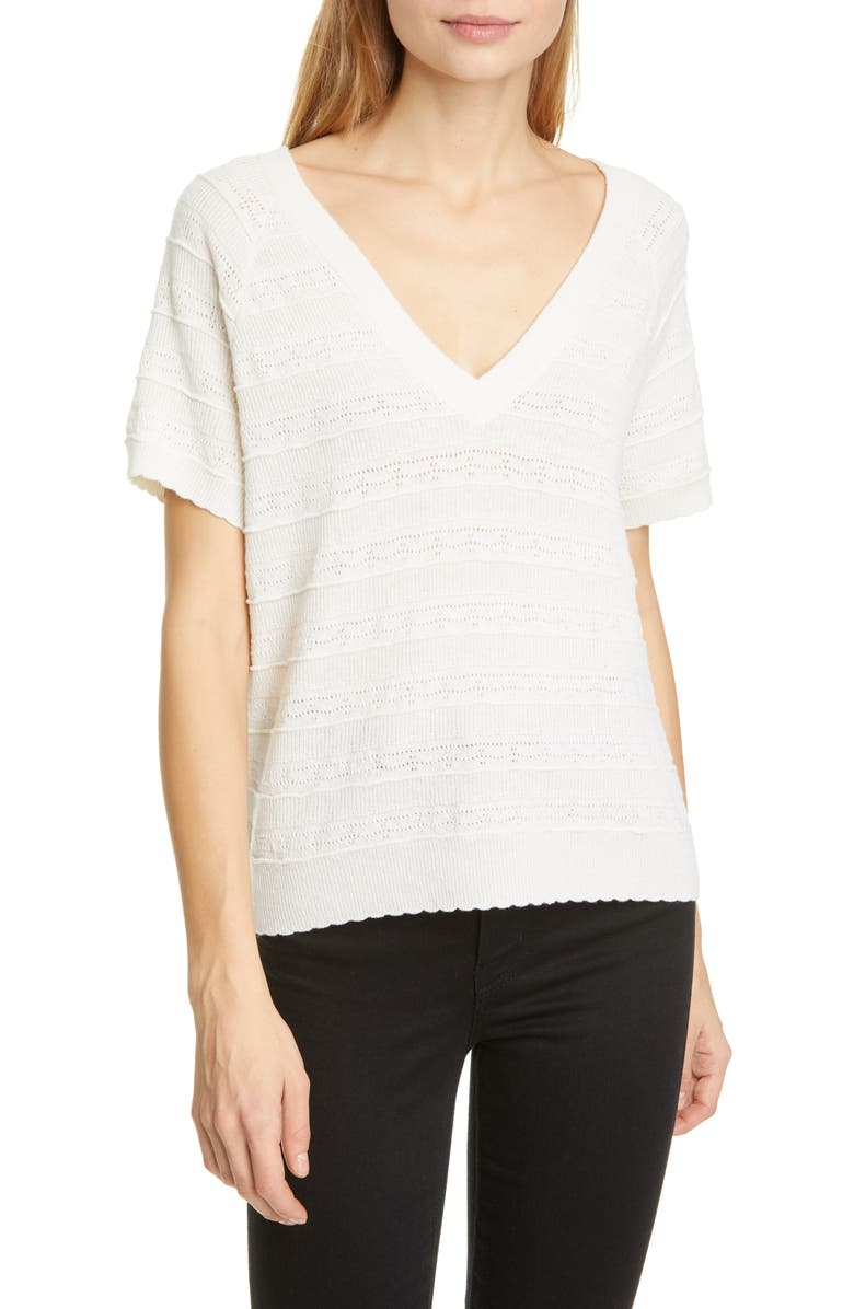 JOIE Anoushka Short Sleeve Merino Wool Sweater, Main, color, PORCELAIN